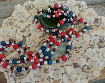 Retro Wood Beaded Patriotic Double Necklace in Red + White + Blue - OOAK Vintage Jewelry Gift, Fourth of July Necklace or Costume Jewelry