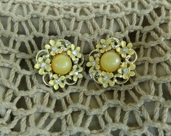 Mid Century Yellow Flower Enamel Earrings With Rhinestones - Vintage Enamelware Large Floral Clip Earrings, Statement + Costume Jewelry Gift