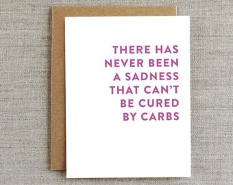 Funny Friendship Card, Carbs Card, Thinking of You Card, Encouragement Card, Card for Friend, Food Card, Pizza Card