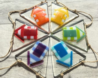 Beach Hut Bunting, Rainbow Bunting, Beach Hut Decor, Fused Glass Art, Beach Art, Beach Themed, Beach Hut Gift, Rainbow Decor, Rainbow Glass