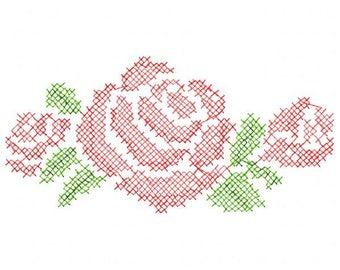 Cross Stitch Roses Embroidery Design - Instant Download