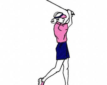 Lady Golfer Machine Embroidery Design - Instant Download