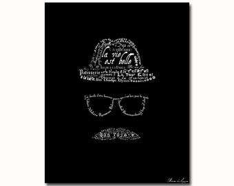 French typography man art print illustration