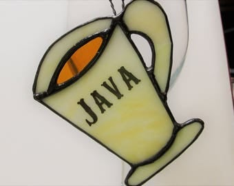 JAVA Stained Glass Coffee Cup - with Black Patina Finish - Great gift for Coffee Lovers