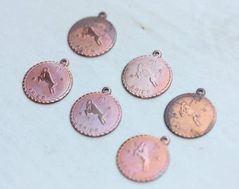 Aries Astrology Charms, Copper Zodiac Charms, Copper Charms, Aries Charms, Aries Charm, Round Astrology Charm, Astrology Charm, Zodiac  (6x)