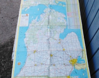 Vintage Michigan Map - Shell Map - 1965 Road Map