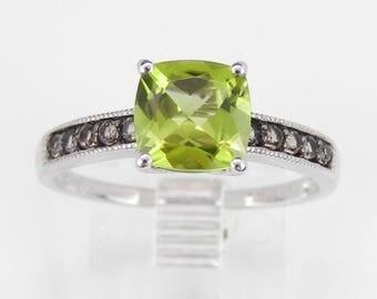 Cushion Cut Peridot and Smokey Topaz Promise Engagement Ring White Gold Size 7.25