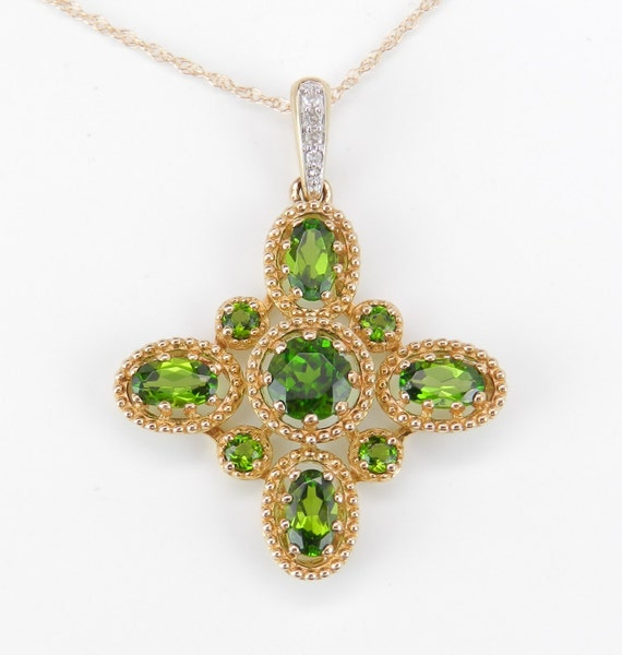 """Diamond and Green Chrome Diopside CROSS Pendant Necklace 14K Yellow Gold 18"""" Chain Religious Charm"""