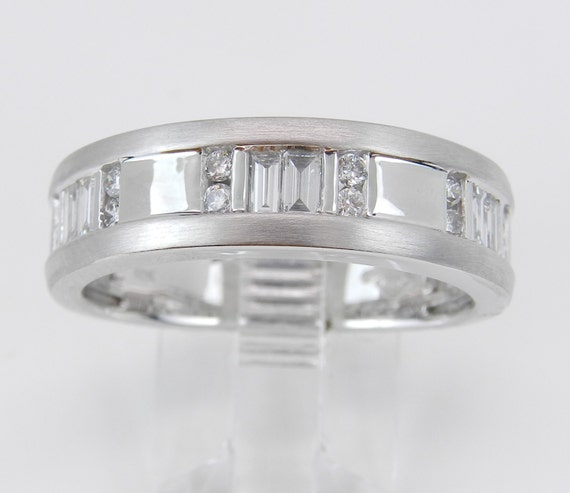 Mens White Gold Diamond Wedding Band Unique Anniversary Ring Size 10.25