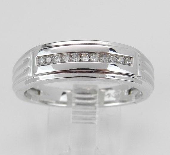 Mens Diamond Wedding Band Anniversary Ring White Gold Size 10.75
