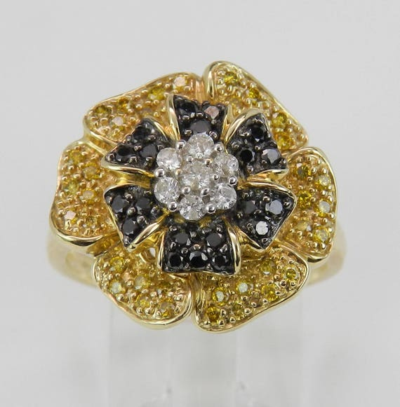Black Canary and White Diamond Rose Flower Cluster Ring 14K Yellow Gold Size 7