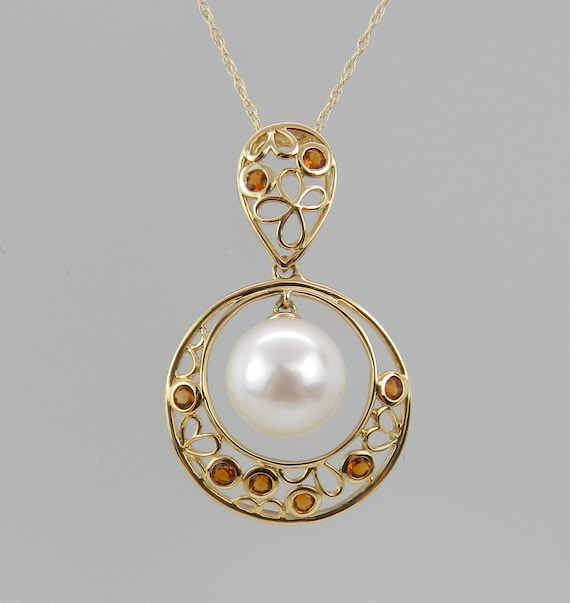 "14K Yellow Gold Citrine and Pearl Dangle Pendant Necklace Chain 18"" June Gift"