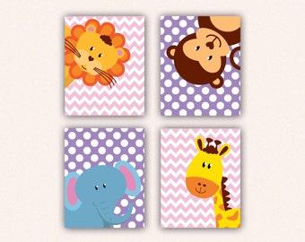 Jungle Animal Nursery Print Set - Elephant Monkey Giraffe Lion Kids Bedroom Art, Chevron and Polka Dot Safari Decor in Pink & Purple (5008)