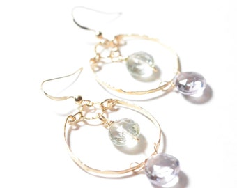 Lavender Amethyst with Green Amethyst Dangle Earrings