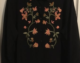 Vintage Embroidered Shirt Black