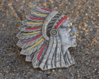 Vintage Native American Chief Lapel Pin
