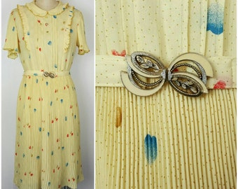 Pale Yellow Hearts 60s Japanese Doll Dress