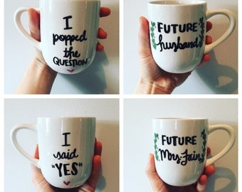 Engagement Mugs, Coffee Mugs, His and Hers, Coffee Cup, Tea Cups, Set of 2