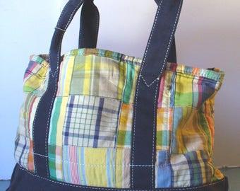 Madras Plaid Canvas Tote  Bag