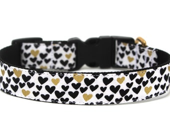 """Heart Dog Collar 1""""  Gold Dog Collar"""