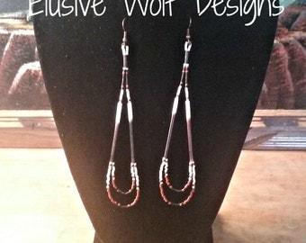 Beaded Quill Earrings - Beaded Drop Earrings - Quill Dangle Earrings - Tribal Quill Earrings - Elusive Wolf
