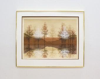 Virgil Thrasher Print 'Red Lake' Signed and Framed, Vintage Art