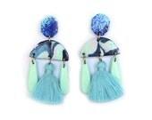Statement BlueTassel Earrings