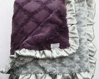 Minky Blanket, gift for women, purple blanket, grey and purple, soft blanket, Lattice cuddle, baby gift, plum, oyster, gift for mom, grandma