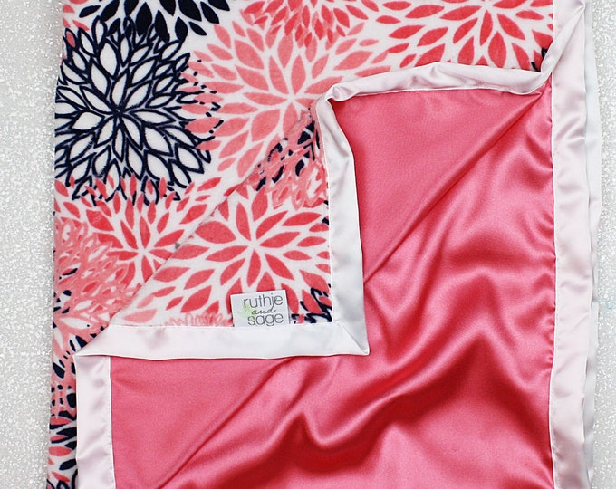 Minky Blanket, coral blanket,coral bloom, baby girl, minky and satin, elegant blanket, coral and navy, baby girl, baby gift, silky blanket