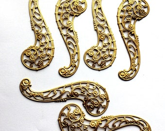 Vintage Paisley Filigree, 6 Piece, Brass Stampings, Beading Filigree, Vintage Supplies, Patina Brass, Bsue Boutiques, 69 x 27mm, Item02336