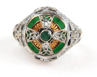 Emerald Isle Maltese Cross Men's Ring Sterling Silver Green and Gold Accents Size 8