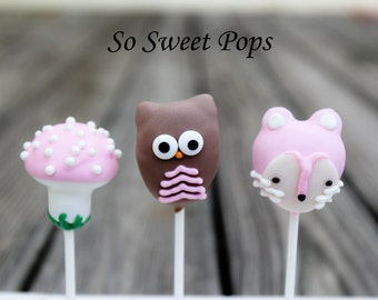 So Sweet Pops Happily Made Pink Woodland Themed Cake Pops