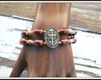 Pearl Cross Bracelet, Bronze Pearl Bracelet, Freshwater Pearl Cross Bracelet, Double Strand Pearl Bracelet, Freshwater Pearl Bracelet, Cross