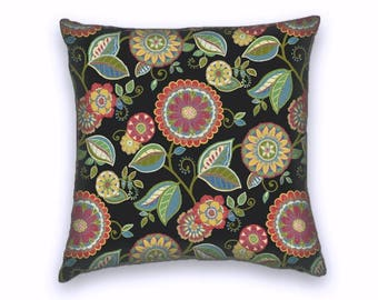Black Whimsical Floral Decorative Throw Pillow- 18x18 or 20x20 or 22x22-Pillow Cover- Accent Pillow