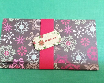 Christmas Money/Gift/Check Card Holder, Brown, Snowflakes, Red Band, Embellishments, HOLLY, Poinsettias, Handmade