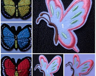 butterfly Embroidered Iron On Patch select style price for 1 pc