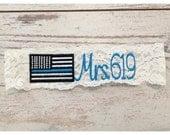 THIN BLUE LINE Garter / Police Wedding Garter / lace garter / toss garter