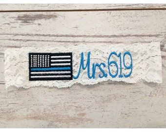 THIN BLUE LINE Garter / Police Wedding Garter / lace garter / toss garter