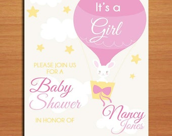 Hot Air Balloon Bunny /  Baby Shower Invitation Cards / PRINTABLE / DIY