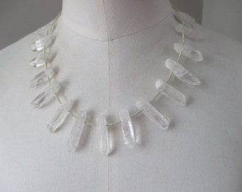 SALE Raw quartz point necklace with clear natural quartz points and faceted silver glass beads 17""