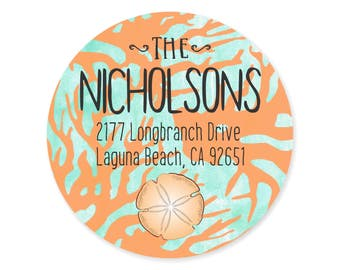 Sea Coral Sand Dollar Personalized Address Labels Stickers / Beach Nautical