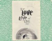 LOVE LOVE LOVE letter - Zine - on pastel pink paper