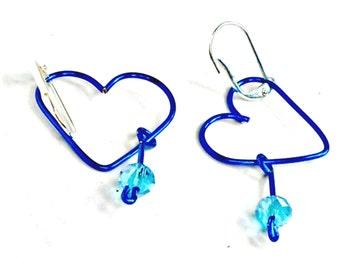 Wirework earrings open heart handmade crystal dangle clip or pierced Pat2