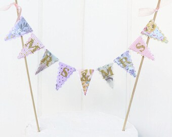 MRS & MRS Cake Bunting - Same Sex Wedding Cake Topper  - Floral, Gold, Mint, Peach, Lilac