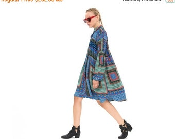 Print shirt dress, Oversized Fashion Dress for Winter, Long Sleeve Loose and  Relxed Fit Boho Dress