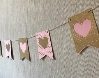 Pink and Gold Banner, Heart Baby Shower, Heart Banner, Baby Shower Decoration, Pink and Gold Theme, Heart Wedding Banner, READY TO SHIP
