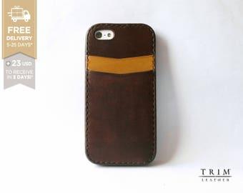 iPhone SE 5 5s Leather Bumper Card Case [Handmade] [Custom Colors]
