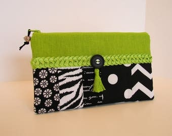 Black and green zipper pouch