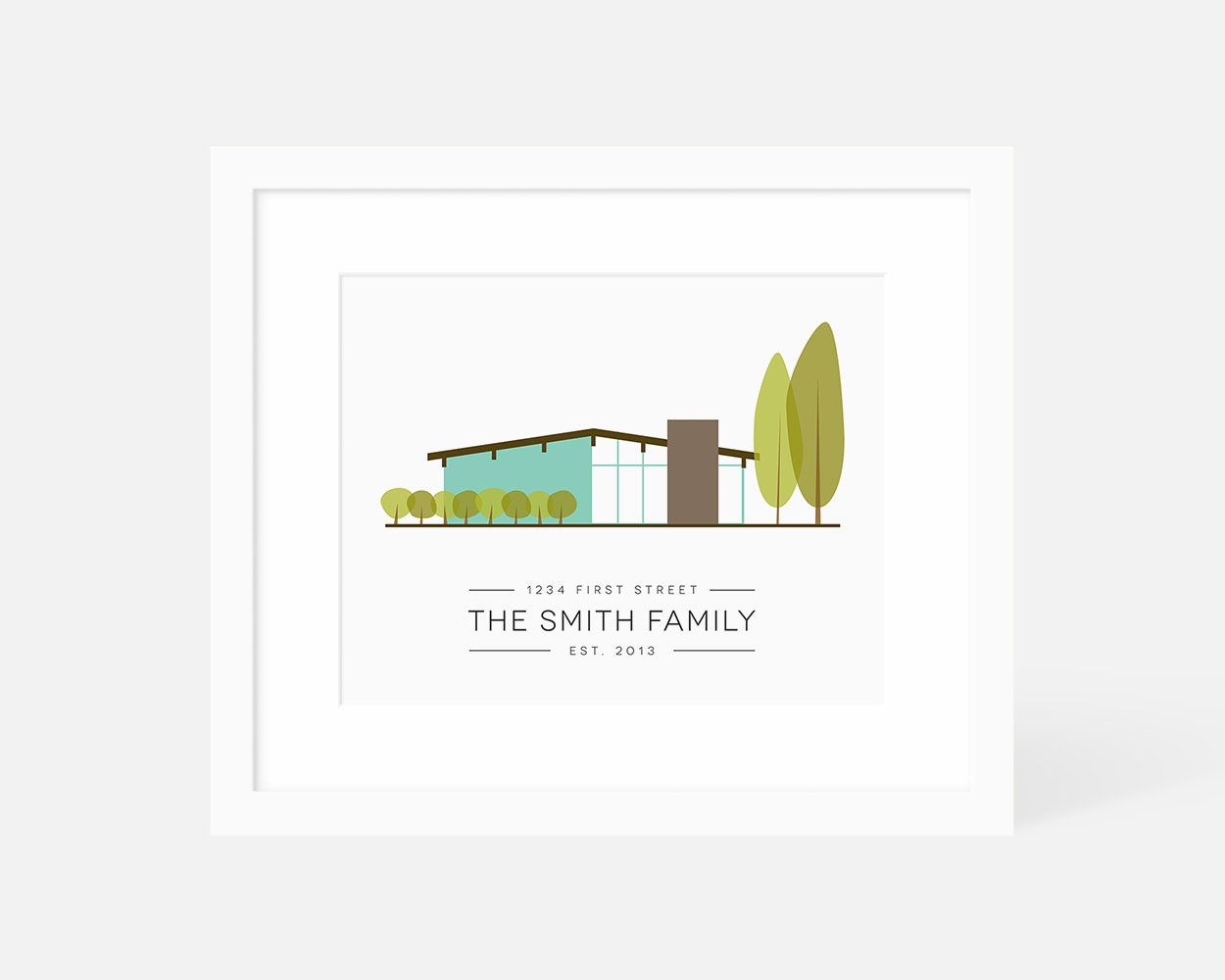 Mid century modern house art personalized housewarming gift for Modern house gifts