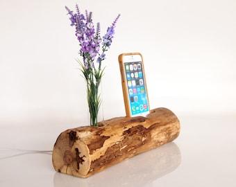 Wooden iPhone Dock - iPhone 7 plus dock - iPhone 6 plus dock - vase holder - handmade -  unique design - rustic iPhone dock - Unique gift